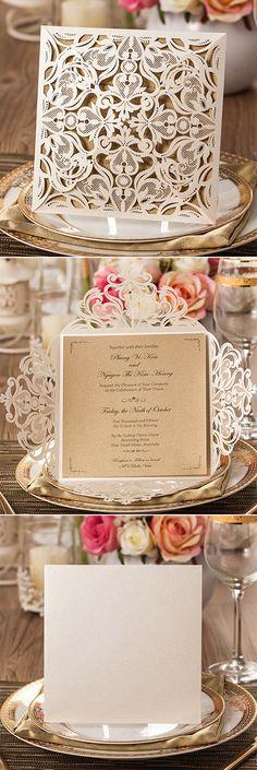 Chic Rustic Laser Cut Wedding Invitations @elegantwinvites