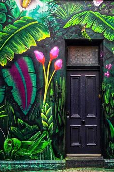 Black jungle green front door home lush painted tropical dark Melbourne, Victoria, Australia Art Mural, Wall Art, Painted Wall Murals, 3d Wall Murals, Wall Decor, Green Front Doors, Interior Paint Colors, Interior Painting, Purple Interior