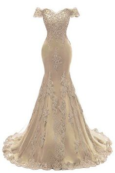 Lace Prom Dresses Mermaid Prom Dresses Lace, Gold Prom Dresses, Long Prom Gowns, Lace Mermaid, Formal Dresses, Long Dresses, Mermaid Wedding, Beaded Evening Gowns, Evening Dresses