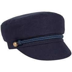 Eugenia Kim Women's Elyse Sailor Flat Cap - Dark Blue/Navy, Size m (€110) ❤ liked on Polyvore featuring accessories, hats, linen hat, flat brim cap, driver caps hats, flat cap hat and sailor hat