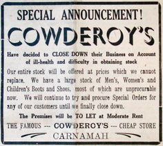 The often forgotten casualties of war. Partly due to difficulty in obtaining stock Albert and Eva Cowderoy decide in March 1942 to close down their business, which they had been operating in Carnamah since 1927. Their business was at 2 Macpherson Street - now the Carnamah Newsagency.