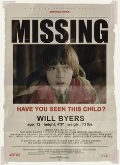 Stranger Things party prop - Will Byers missing poster Stranger Things Aesthetic, Stranger Things Funny, Stranger Things Netflix, Stranger Things Theme, Stranger Things Halloween Costume, Stranger Things Costumes, Stranger Things Halloween Decorations, Jonathan Byers, Will Byers