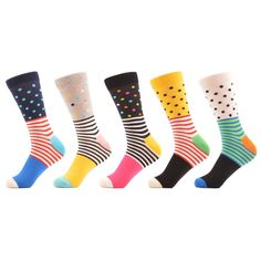 Colorful Funny Dot Combed Cotton Dress Socks (5 Pair Set) solemate-mt.com #solemateMT #sockexchange #socks #funsocks #dots #stripes #highkick