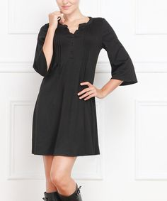 Love this Black Pin Tuck Button-Front Dress by Reborn Collection on #zulily! #zulilyfinds