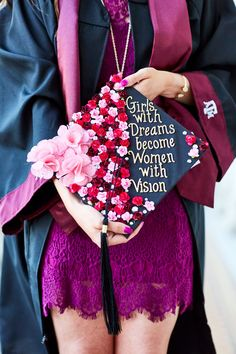 Texas A&M University Graduation cap- Girls with dreams become women with vision. Photo by: Robby Young