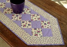 Quilted Table Runner  Pansies Table Runner  by RedNeedleQuilts
