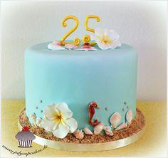 July`s Cupcakes and Cakes World: Sea Shells & Frangipani Cake Hawaiian Party Cake, Cupcakes, Cupcake Cakes, Bad Cakes, Ocean Cakes, Foundant, Food Art For Kids, Nautical Cake, Torte Cake