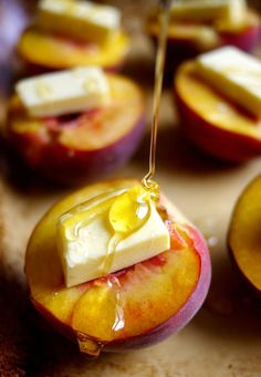 Honey Roast Peaches with buttery honey sauce, marscapone cream and toasted almonds.
