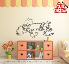 Calvin & Hobbes Sleeping Wall Decal Kids Boy Girl Nursery Room Sticker Design, Wall Mural, Wall Decor, Calvin and Hobbes 0034k by FunDecalFactory on Etsy