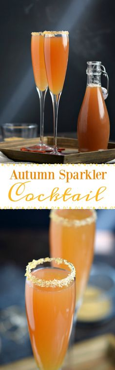Get festive and celebrate fall with these Autumn Sparkler Cocktails at your next party! They are sparkly, bubbly, and will definitely impress your guests! COPYRIGHT © 2017 COOKING WITH CURLS Fall Drinks, Holiday Cocktails, Party Drinks, Cocktail Drinks, Cocktail Recipes, Drink Recipes, Champaign Cocktails, Liquor Drinks, Yummy Recipes