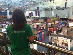 Kate looking out at the Gloucestershire Business Show exhibitors.