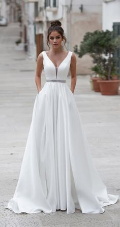 Simple A Line Boho Wedding Dress Long 2019 Backless Sleeveless Beaded Sashes Beach Wedding Gown Plus Size Bride Gown Wedding Dresses Size 14, Wedding Dress Sash, Wedding Dress With Pockets, Designer Wedding Dresses, Bridal Dresses, Wedding Gowns, Boho Beach Wedding Dress, Bride Dress Simple, Simple Elegant Wedding Dress