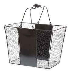 Stella Tall Wire Mesh with Solid Panel Shopping Basket Med 13in