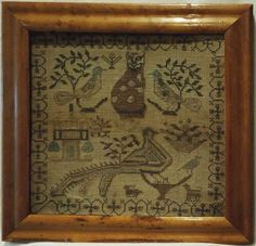 SMALL EARLY 19TH CENTURY CAT, BIRD & MOTIF SAMPLER c.1830