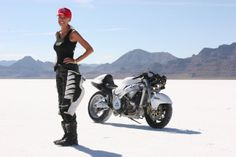 Her name is Leslie Porterfield, she has a motorcycle shop in Dallas, and she is known as the Queen of Speed.