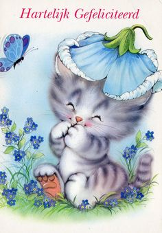 Vintage  happy birthday Postcard with sweet cat by CuteEyeCatchers, €3.50