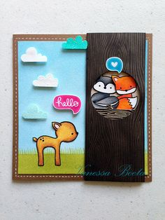 Lawn Fawn - Into the Woods, Woodgrain Backdrops _ adorable woodland scene by Vanessa! _ la foto 1 | Flickr - Photo Sharing!