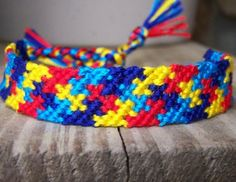 Autism Awareness Puzzle Friendship Bracelet by thethreadjunky