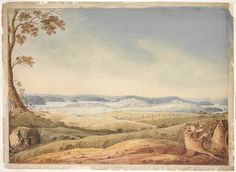 south view of Sydney taken from the Surry Hills 1819 Joseph Lycett State Library NSW Sydney Theatre Company, Van Diemen's Land, Sydney New South Wales, First Fleet, Prison Art, Colonial Art, University Of Sydney, Surry Hills