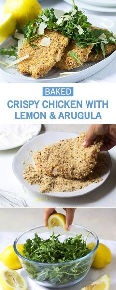 When youre looking for a easy and delicious recipe to add to your dinner table this Baked Crispy Chicken with Lemon and Arugula is sure to do the trick! Once you pick up your essential ingredients at Krogerlike eggs bread crumbs and fresh citrusyou Crispy Baked Chicken, Clean Eating, Healthy Eating, Healthy Food, Cooking Recipes, Healthy Recipes, Delicious Recipes, Keto Recipes, Lemon Chicken
