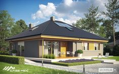 Eris II (wersja C) - projekt domu - Archipelag Stone Driveway, Good House, Facade House, Exterior Design, Gazebo, House Plans, Sweet Home, Outdoor Structures, Mansions