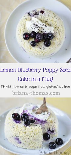 Lemon Blueberry Poppy Seed Cake in a Mug....THM:S, low carb, sugar free, gluten/nut free