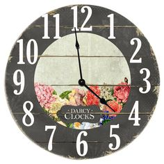 Love the flowers on this pallet clock!