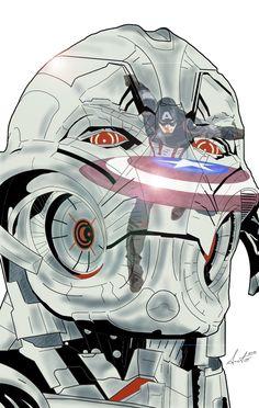 Ultron and Captain America by Antonio Palumbo #avengers #captainamerica #ultron #ageofultron