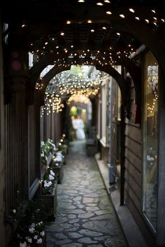 Passage (a hidden passage off of Ocean Avenue in Carmel California). I've been there. Leads to a Thomas Kinkade Gallery. I want to go back!