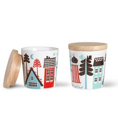 Isak - tingleby lidded cups Love the simplicity, the limited colour pallet (3 colours and white) and the lidded cup design