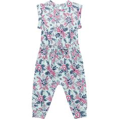 The perfect pick for easy, everyday wear, the Girls Jersey Onesie from Dymples is crafted from pure cotton for maximum softness against the skin. This design features a drawstring at the waist, banded ankle cuffs and snap placket to inseam for easy dressing and nappy changes. Offering both comfort and practicality, this mint green style is finished with an adorable floral print throughout.