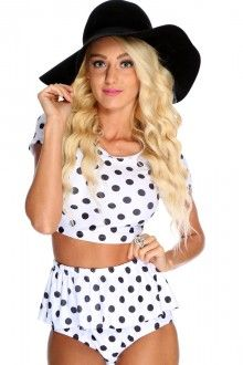 Black White Crop Top High Waist Peplum Bikini