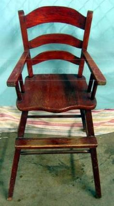 childs wooden high chair