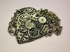 Steampunk Heart with gears necklace Fast Free Shipping