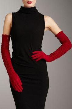 LOVE IT! Valentino - Red Ruched Merino Wool Opera Gloves http://lifestyleprofessional.net/