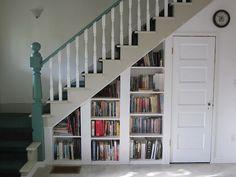 Bookshelves under steps - for the basement