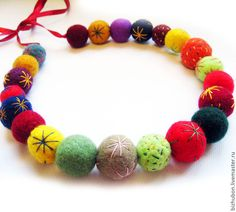 Felt Necklace, Crochet Necklace, Beaded Necklace, Felt Ball, Fabric Jewelry, Wool Fabric, Felt Flowers, Chokers, Creative Ideas