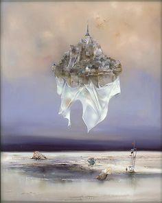 """""""Le Mont Saint-Michel"""" by Bernard Louedin - Park West Gallery"""