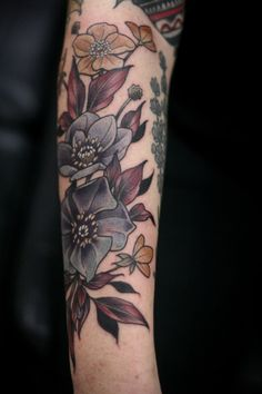 kirsten makes tattoos-- black hellebore and buttercups