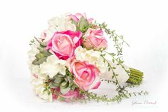 Roses & Succulents Bridal Wedding Bouquet. Cream by GlamFloral, $165.00