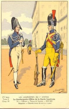 French; Imperial Guard, Gendarmes d'Elite, Officer, Tenue de Societe & Brigadier, Grande Tenue a Pied 1804-15