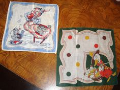 Artist Tom Lamb Signed Vintage Handkerchiefs by SofiasCobwebMuseum..$40 for both
