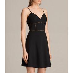 AllSaints Clementine Dress ($195) via Polyvore featuring dresses, black, flare dress, v-neck dresses, allsaints dress, v neck dress and v neck flare dress