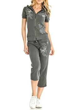 Vertigo Paris Womens Wash Embroidered Short Sleeve Capri Jog Set -- Check out this great product. (This is an affiliate link)