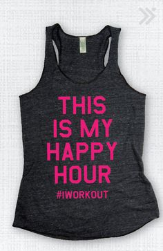 Char/Neon Pink This Is My Happy Hour Eco Tank by everfitte on Etsy, $26.00