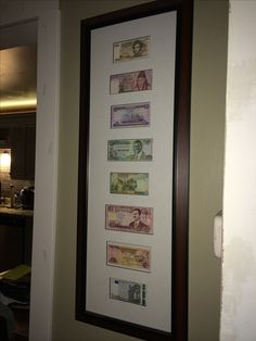 Frame the currency from the countries you've been! Allows you to always remember each one and display them to everyone who visits your house! Great conversation starter!!