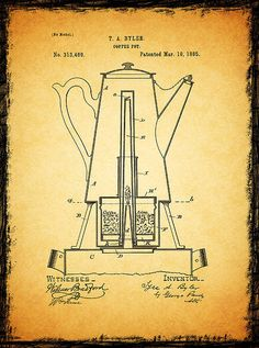Coffee Pot Patent 1885 Print By Mark Rogan
