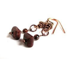 Copper Beaded Dangle Earrings Jasper Boho by CindyBurkeOriginals