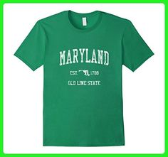 Mens Retro Maryland T Shirt Vintage Sports Tee Design XL Kelly Green - Sports shirts (*Amazon Partner-Link)