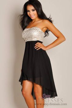 Strapless ivory sequin high low dress